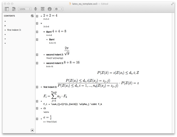 Screenshot of a sample document with equations